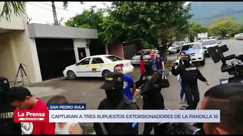 Capturan en San Pedro Sula a tres supuestos extorsionadores de la pandilla 18