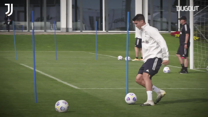 Alvaro Morata takes part in Juventus training ahead of Roma clash