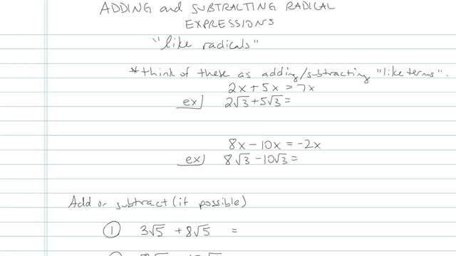 Adding and Subtracting Radical Expressions - Problem 9