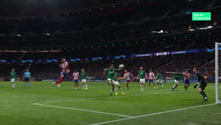 Champions League: Atlético Madrid - Lokomotiv Moscú. Gol de Felipe Monteiro (2-0)