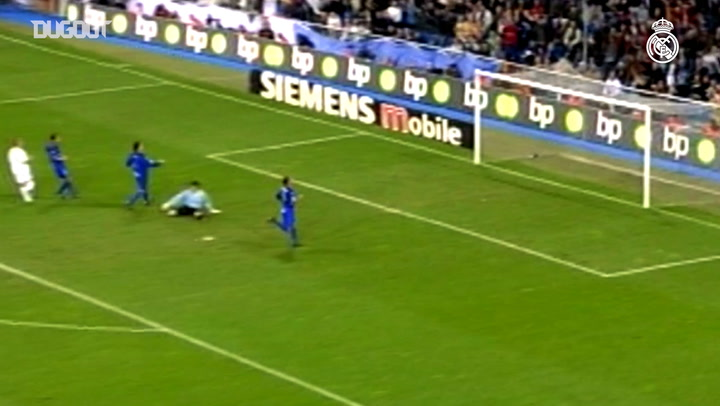 Michael Owen scores the first ever goal between Real Madrid and Getafe