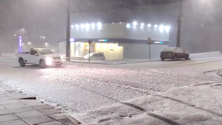Snow blankets streets in southern Brazil as rare cold snap hits