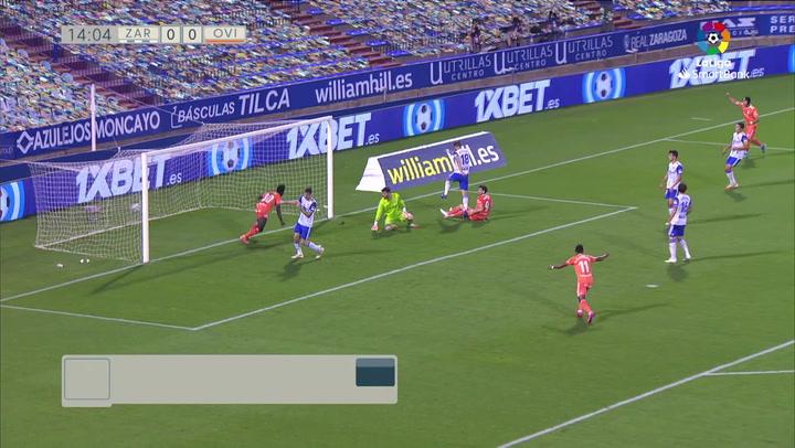 Gol de Obeng (0-1) en el Zaragoza 2-4 Oviedo