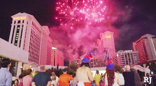 Tourists and locals enjoy Independence Day fireworks at Caesars Palace