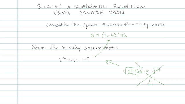 Solving Quadratic Equations Using Square Roots - Problem 7