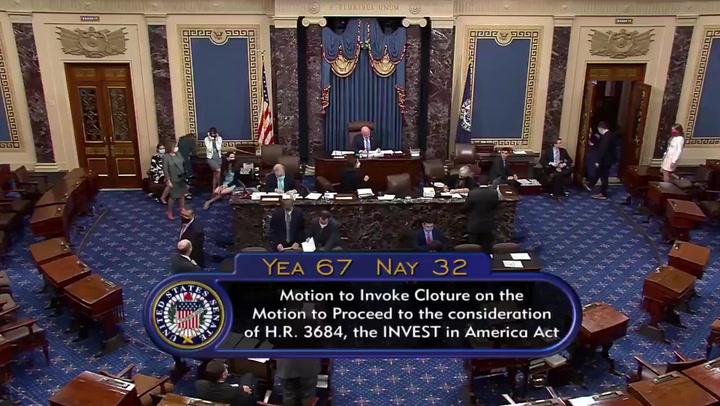 Schumer praises bipartisan efforts as Senate votes through infrastructure bill