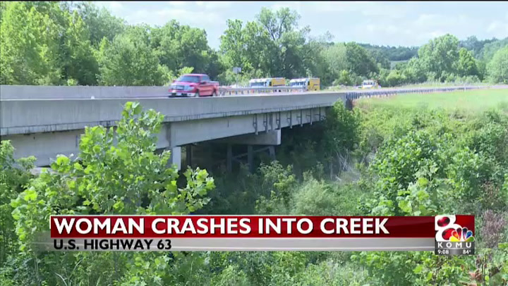 Woman crashes car into creek north of Columbia