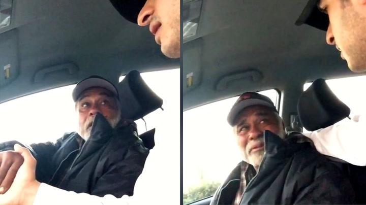 Hjemløs veteran rørt til tårer av uventet gest