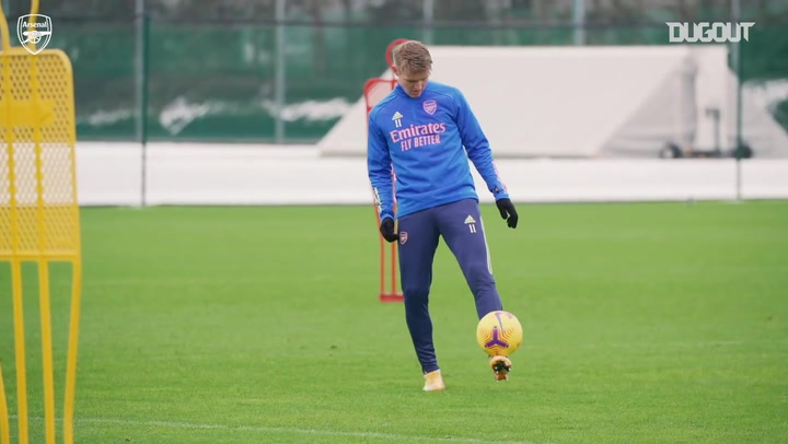 Martin Ødegaard's first Arsenal training session