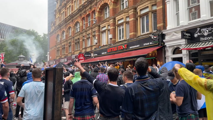 Scotland fans predict victory as they gather in London's Soho ahead of England Euro 2020 clash