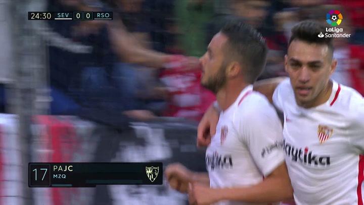 LaLiga: Sevilla-Real Sociedad. Gol de Sarabia (1-0)