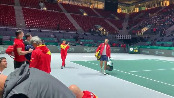 Rafa Nadal entrena en la Caja Mágica para preparar la Copa Davis