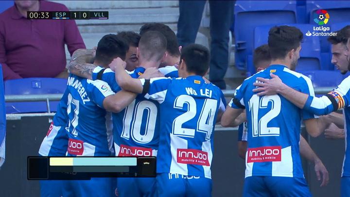 LaLiga: Espanyol - Valladolid. Gol de Borja Iglesias (1-0)