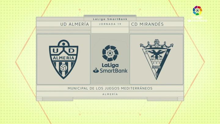 LaLiga SmartBank (J19): Resumen y goles del Almería 3-1 Mirandés