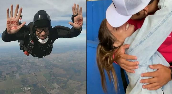 Said Palao y su romántica propuesta a Alejandra Baigorria desde un paracaídas