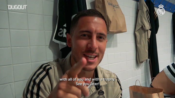 Eden Hazard celebrates his first La Liga title with Real Madrid
