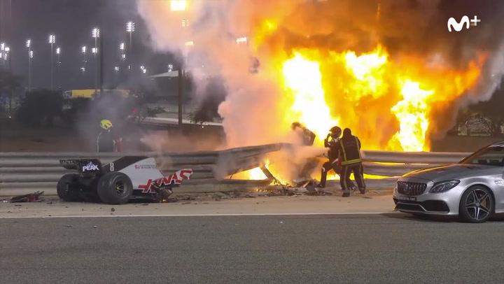 Grosjean vuelve a nacer: ¡Tremendo accidente con explosión e incendio!