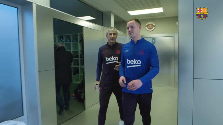 Así fue la llegada de Quique Setién a la Ciutat Esportiva y su primer encuentro con los jugadores