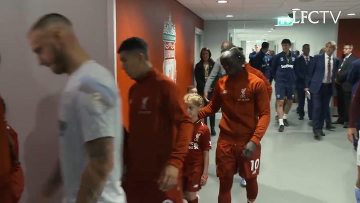 Alisson Walks Out To YNWA On Anfield Debut