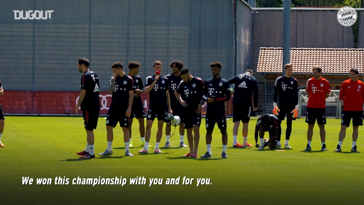 Bayern staff congratulate players after winning Bundesliga title