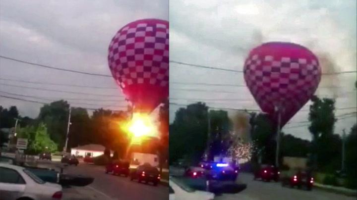 Her smeller luftballongen inn i kraftlinja