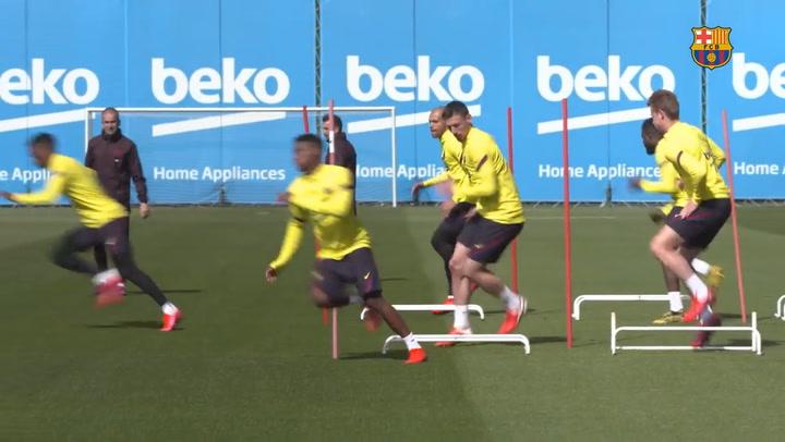 Último entrenamiento del Barça de cara al partido contra la Real Sociedad
