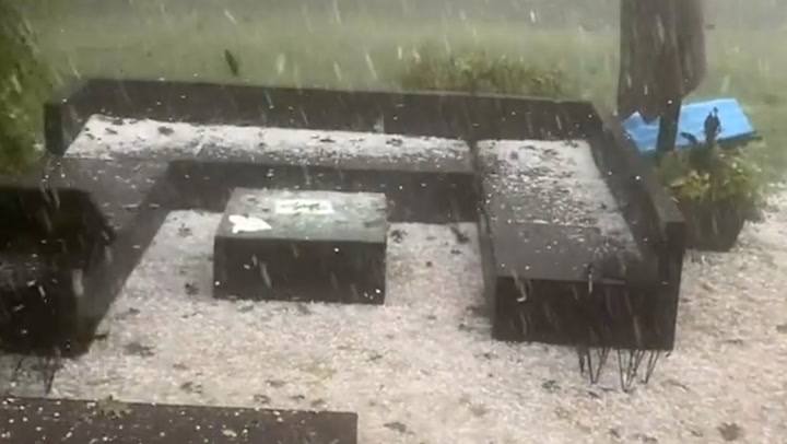 Porch coated by hail from storm in Ontario