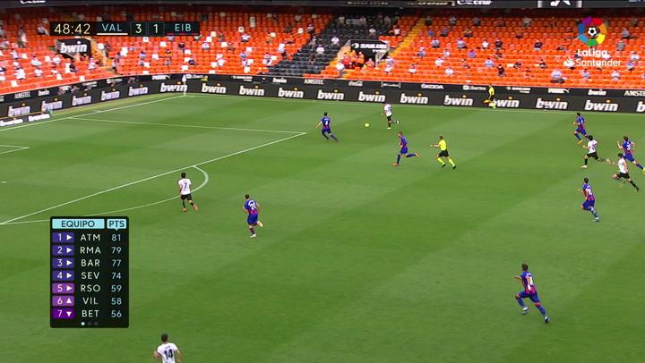 Gol de Guedes (4-1) en el Valencia 4-1 Eibar