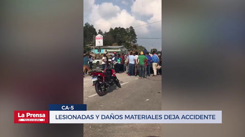Dos heridos deja accidente entre rastra y pick up en carretera CA-5