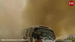 Incendio en zacatera en terminal de buses tras protesta en la capital