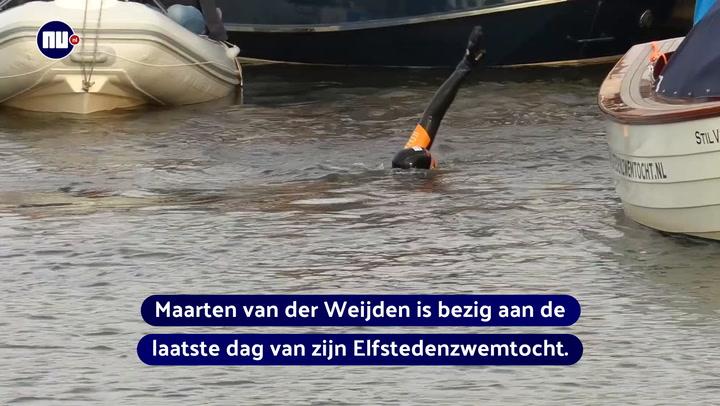 Zwemtocht dag 4: F16's en duizenden Friezen eren Van der Weijden