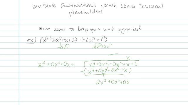 Dividing Polynomials using Long Division - Problem 6