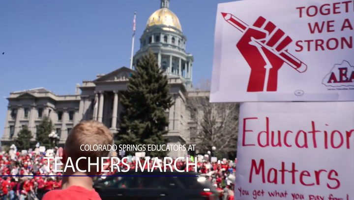 Colorado Springs Educators March Alongside Teachers In Denver Rally