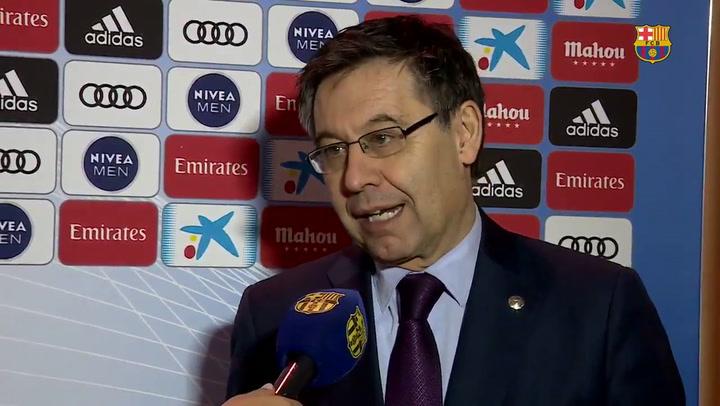 """Bartomeu: """"Hoy es un gran día, por el Barça y por Rosell"""""""