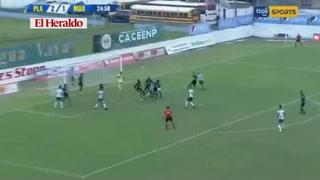 Juan Bolaños anota el 2-1 de platense ante el Marathón