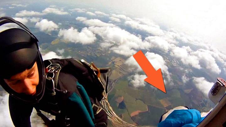 Fallskjermhopper innser tabben akkurat tidsnok