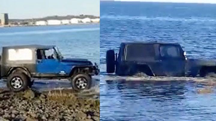 Full bilist fikk problemer i vannet