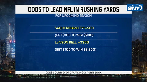 What are the odds on Barkley or Bell to win the rushing title?