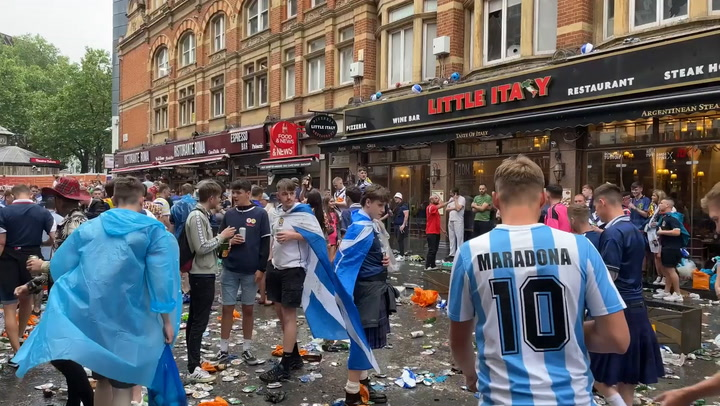 Vast amounts of litter left in the streets of London  while some Scotland fans report for trash duty before kick off
