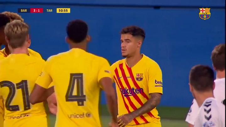 Barça-Nàstic. Gol de Coutinho de penalti (3-1)