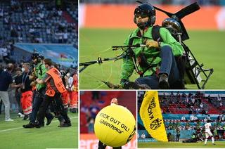 Paracaidista de Greenpeace da el susto en el Francia vs Alemania al enredarse con los cables de la Spider Cam