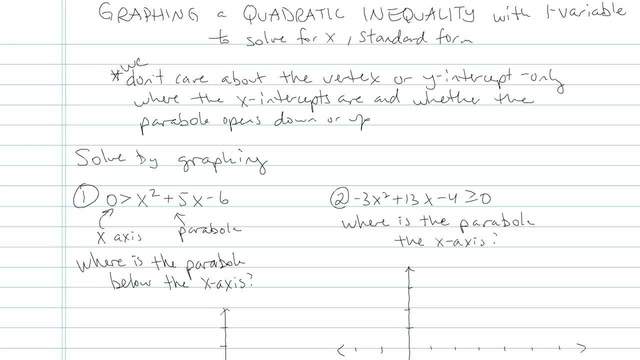 Graphing a Quadratic Inequality - Problem 4
