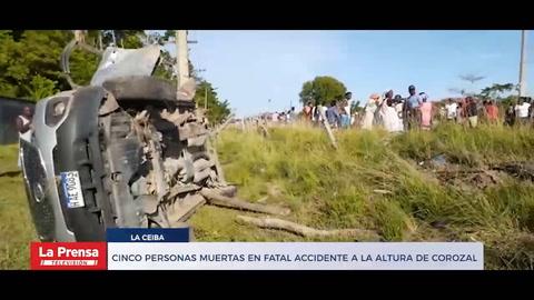 Cinco personas muertas en fatal accidente a la altura de Corozal