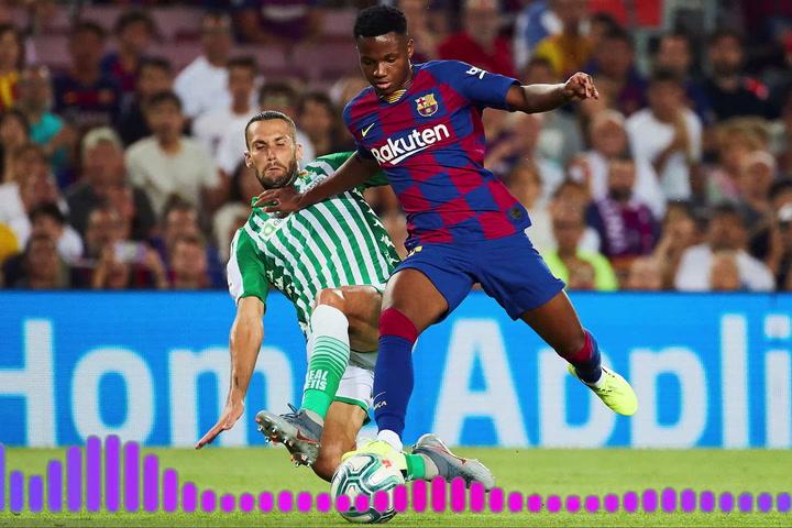 Ansu Fati emocionado tras su debut con el FC Barcelona en el Camp Nou ante el Betis