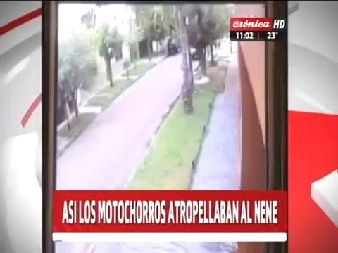 Impactante video del instante en el que un niño es atropellado por motochorros