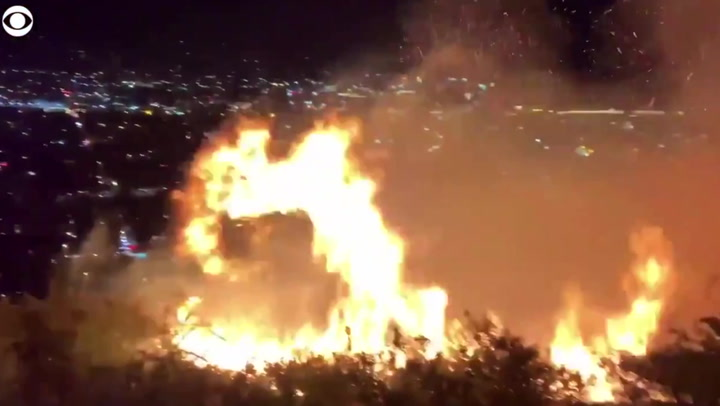 Wildfire gets dangerously close to California TV station