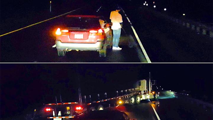 Fyllekjører stopper midt i veien for å tisse – da gjør trailersjåføren dette