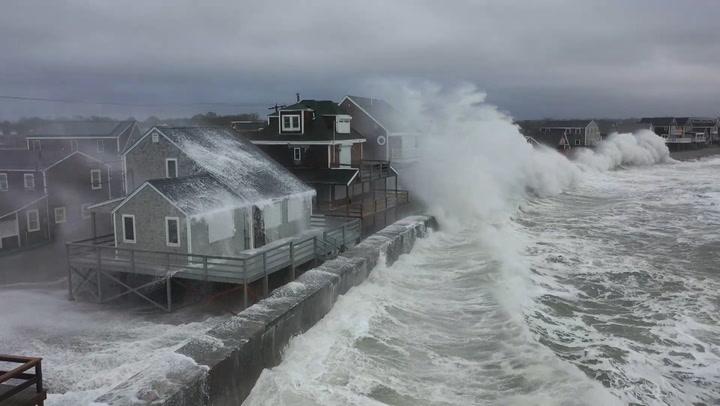 Massive waves crash into Massachusetts coast, damaging homes