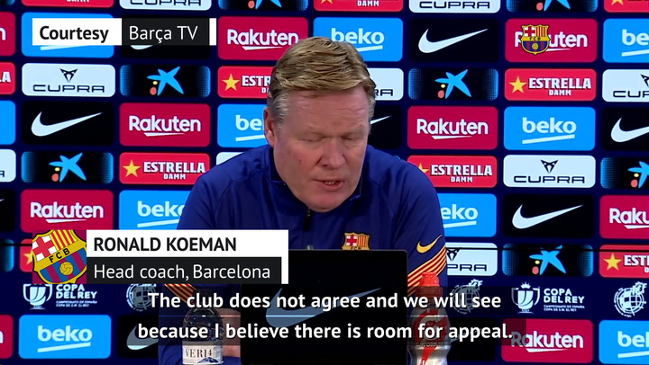 'Room for appeal' on Messi's two-game ban - Koeman