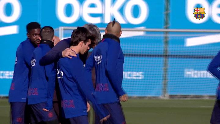 Primer entrenamiento de Quique Setién con el FC Barcelona